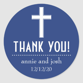 Religious Cross Thank You Labels (Navy / White)