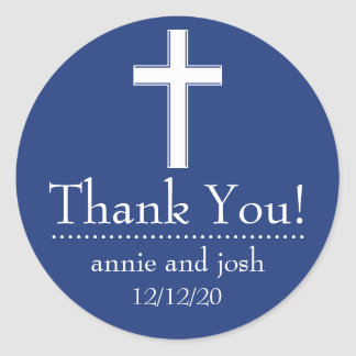 Religious Cross Thank You Labels (Navy / White) Classic Round Sticker