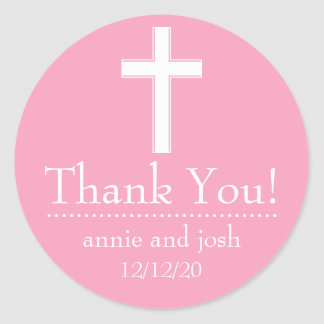 Religious Cross Thank You Labels (Pink / White) Classic Round Sticker
