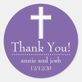 Religious Cross Thank You Labels (Plum / White) Sticker