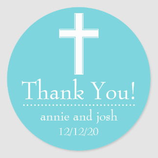 Religious Cross Thank You Labels (Teal / White) Classic Round Sticker