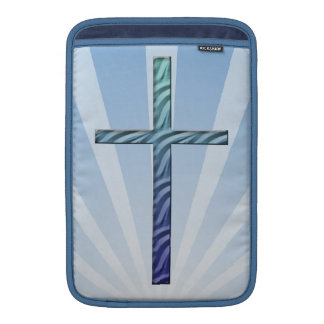 Religious Cross-with Blue Sunrays MacBook Sleeves