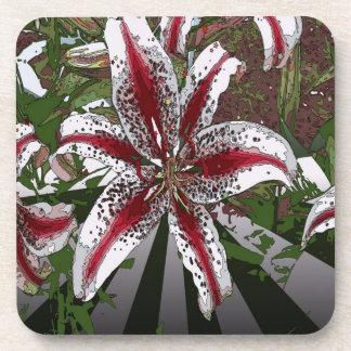 religious Easter Blessings pink oriental lily Beverage Coaster