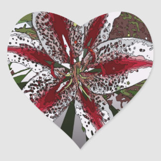 religious Easter Blessings pink oriental lily Heart Sticker