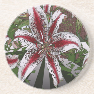 religious Easter Blessings pink oriental lily Sandstone Coaster