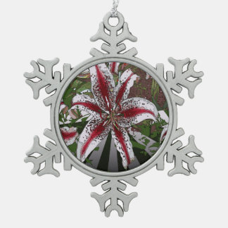 religious Easter Blessings pink oriental lily Snowflake Pewter Christmas Ornament