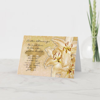 Religious Easter Card - He Has Risen - Cream Lilie