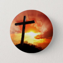 Religious Easter Cross at Sunset Button