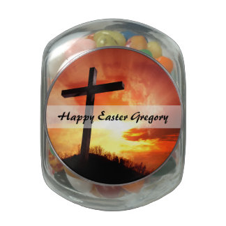 Religious Easter Cross at Sunset Glass Candy Jars