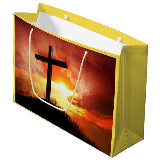 Religious easter gift bags zazzle religious easter cross at sunset large gift bag negle Images
