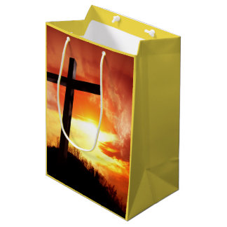 Religious easter gift bags zazzle religious easter cross at sunset medium gift bag negle Image collections