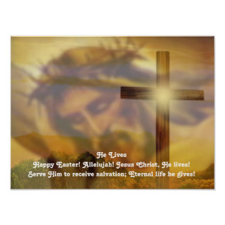 Religious Easter Poster - Jesus and Cross Gold