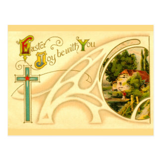 Religious Easter with Cross & Vignette Postcard