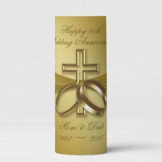 Religious Golden 50th Anniversary Pillar Candle