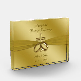 Religious Golden 50th Wedding Anniversary Award