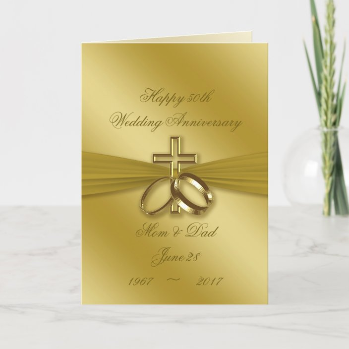 Religious Golden 50th Wedding Anniversary Card | Zazzle.com