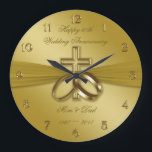 "Religious Golden 50th Wedding Anniversary Clock<br><div class=""desc"">A Digitalbcon Images Design featuring a satin soft gold color and religious design theme with a variety of custom images, shapes, patterns, styles and fonts in this one-of-a-kind ""Religious Golden 50th Wedding Anniversary"" Round Wall Clock. This soft and satiny golden design comes complete with customizable text lettering to suit your...</div>"