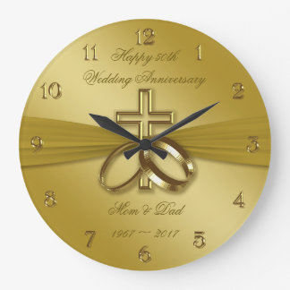 Religious Golden 50th Wedding Anniversary Clock
