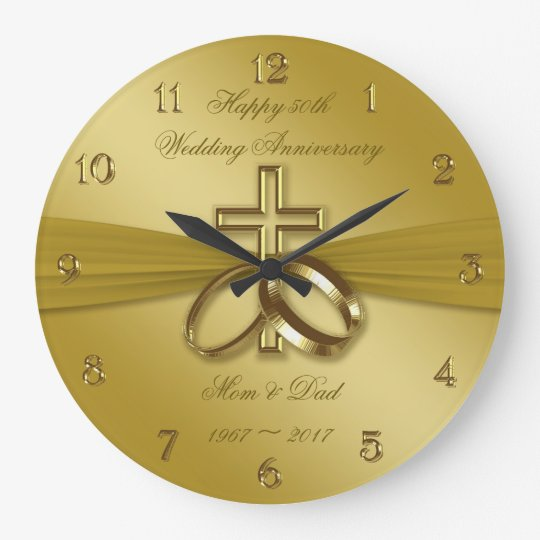 religious golden 50th wedding anniversary clock zazzle com
