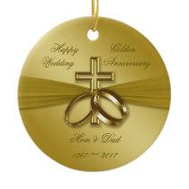 Religious Golden 50th Wedding Anniversary Ornament