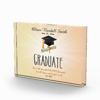 Religious Graduation Gold Starburst with Black Cap Acrylic Award