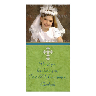 Religious Green White Cross Card