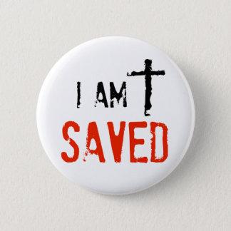 Religious I Am Saved Pinback Button