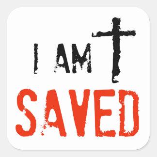 Religious I Am Saved Square Sticker
