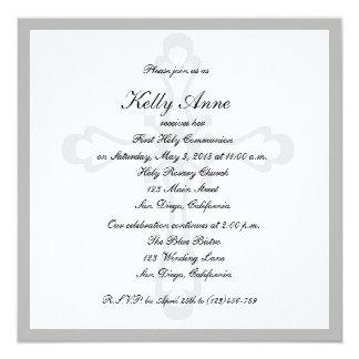 "Religious Invitation Cross Watermark Elegant 5.25"" Square Invitation Card"