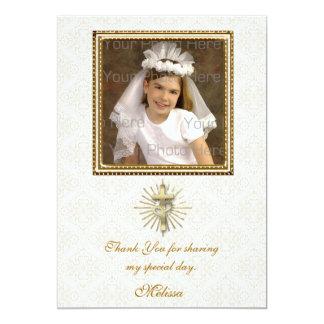 Religious Ivory Damask Photo Card