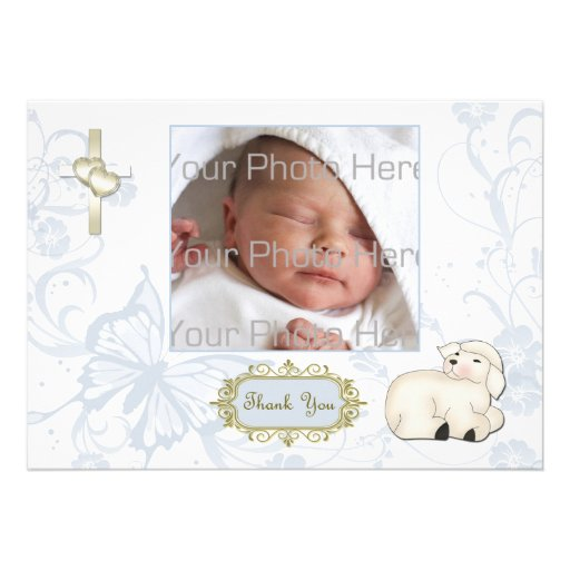 Religious Lamb, Cross, Blue Floral Photo Card Personalized Invitations