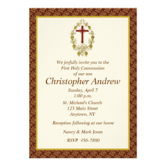 Religious Maroon Border Personalized Invitations
