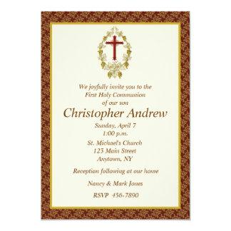 Religious Maroon Border Personalized Invitations