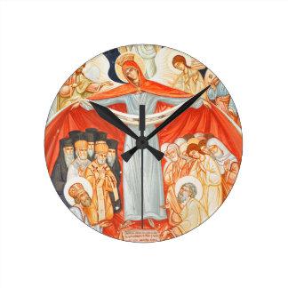 Religious painting round clock