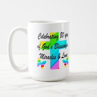 RELIGIOUS PERSONALIZED 80TH BIRTHDAY DESIGN COFFEE MUG