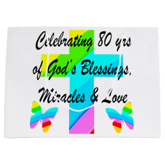 RELIGIOUS PERSONALIZED 80TH BIRTHDAY DESIGN LARGE GIFT BAG