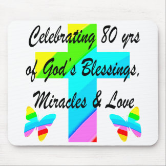 RELIGIOUS PERSONALIZED 80TH BIRTHDAY DESIGN MOUSE PAD