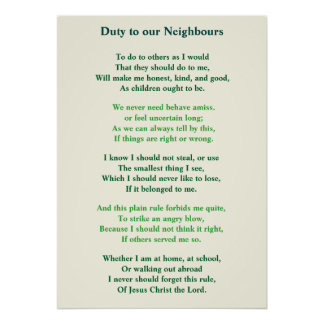 Religious Poem Duty to our neighbours Poster