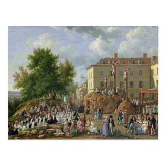 Religious Procession to Mont Valerien, 1819 Postcard