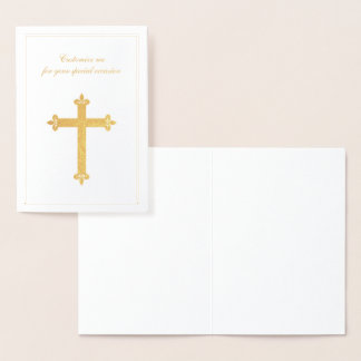 Religious Special Occasion Gold Cross Foil Card