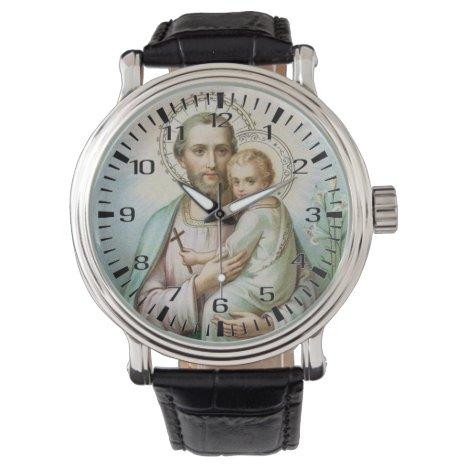Religious St. Joseph Jesus Catholic Vintage Watch