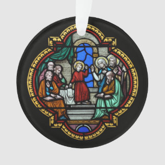Religious stained glass motif ornament
