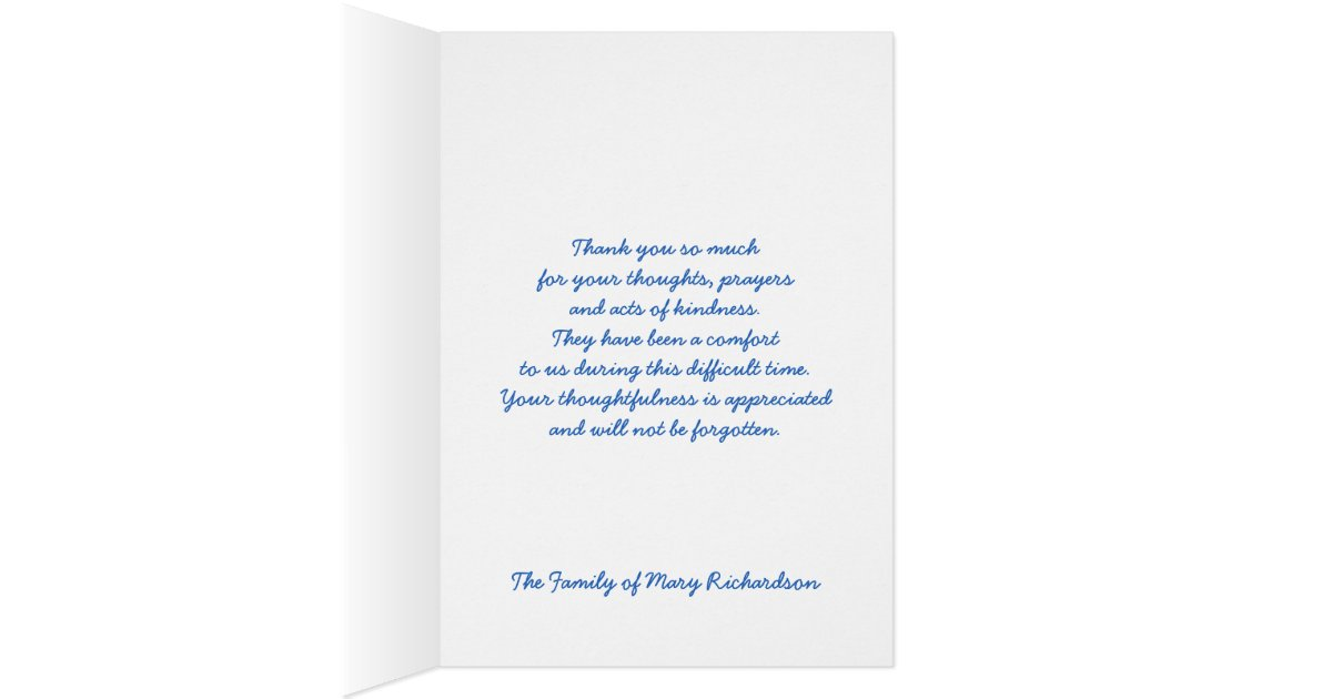 Religious sympathy thank you note card blue zazzle for Thank you note for condolence gift