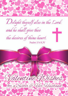 Religious Valentine for Sister & Husband, Psalm 37 Holiday Card