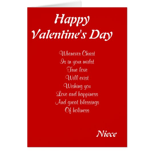 Religious valentine's day niece card