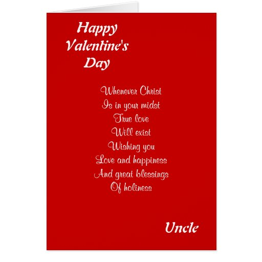 Religious valentine's day uncle cards