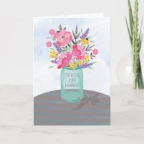 Religious Wedding Blessings Jar Vase with Flowers Card