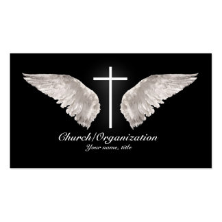 Religious White Cross Angel Wings Business Card