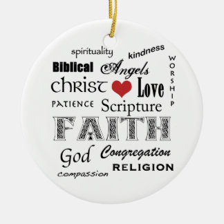 Religious Word Cloud+Blue Rippled Cross Ceramic Ornament