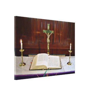 Religous Altar with Bible Cross and Candles Canvas Print